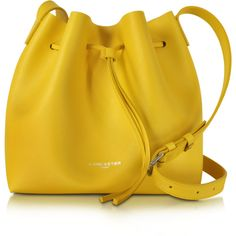 Lancaster Paris Handbags Pur & Element Saffiano Leather Bucket Bag (770 BRL) ❤ liked on Polyvore featuring bags, handbags, shoulder bags, bolsas, yellow, yellow shoulder bag, purse pouch, handbags shoulder bags, hand bags and man pouch bag