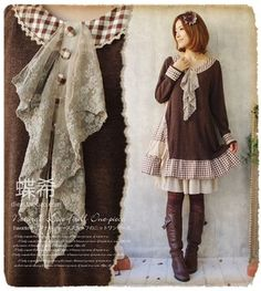 Japanese Sweet Mori Girl Retro Autumn Cotton Long Sleeve Dress 2 Colors #23