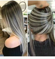 Balayage Hair Color Ideas for Brunettes Hair Color Highlights, Hair Color Balayage, Ash Blonde Highlights On Dark Hair, Gray Balayage, Bayalage, Hair Colour, Brown Blonde Hair, Brunette Hair, Pinterest Hair