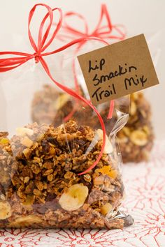 Paula Deen Lip Smackin' Trail Mix. Has sweetened condensed milk so it's not as healthy, but sounds yummy.