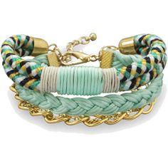 Multistrand Mint and Black Fashion Bracelet ($16) ❤ liked on Polyvore featuring jewelry, bracelets, mint jewelry, braid jewelry and mint green jewelry