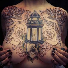 ~ Roses ~ Birds ~ Candle ~ Lantern ~ Tattoo Wouldn't get my chest tattooed but i adore this one