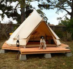 VISIT FOR MORE Simple wood platform on cinder blocks…backyard yurt/tent/structure base or deck. Yurt Tent, Cabin Tent, Ideas Cabaña, Tent Platform, Tyni House, Yurt Living, Sheltered Housing, Backyard Garden Landscape, Modern Backyard