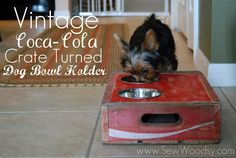 vintage coca-cola crate turned dog bowl #vintage #DIY #woodworking #tutorial