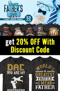 Father's Day T-shirt Design Bundle Want to create trendy t-shirt designs in minutes?  This bundle contains premium designs in vector format that are perfect for t-shirts, hoodies, mugs, and flyers too. With completely editable and pixel perfect vector files you can adapt these t-shirt designs to any size.  #fathersday #fathersdayshirts #fathersdaytee #editabledesigns #tshirtdesign #designbundle #ads Funny Shirts Women, Funny Tshirts, Father's Day T Shirts, Cool T Shirts, T Shirt Design Template, 50 And Fabulous, Love Design, Design Bundles, Fathers Day