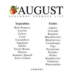 Learn which produce is in season for the month of August.