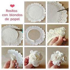 Flores con Blonda de papel blancas