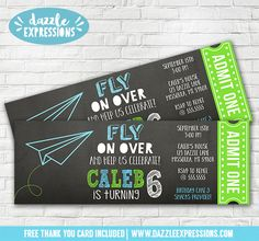 Printable Paper Airplane Chalkboard Ticket Birthday Invitation | Time Flies | Kids Plane Party | Origami | FREE thank you card included | DIY Invite | Digital File | Printable Matching Party Package Decorations Available! Banner | Signs | Labels | Favor Tags | Water Bottle Labels and more! www.dazzleexpressions.com