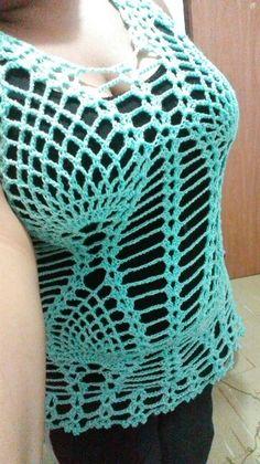 #blusa a #crochet con #piñas para todas las tallas #tutoriales en mi canal de #youtube #Andycrochet