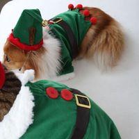 New 2014 christmas winter pet dog clothes warm coats dog jacket fleeces for dog cat christmas elf pet suit costume pet gift