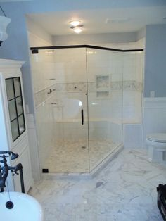 Cozy Bathroom With Delightful Neo Angle Shower: Bathroom Storage With Tile Flooring And Neo Angle Shower Glass Door