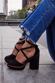 Complete your outfit with a pair of Free People's fashion forward heels including ankle strap heels, platform shoes, wedge heels, classy pumps and more. Cute Shoes, Me Too Shoes, Pretty Shoes, Peep Toes, Platform High Heels, Black Platform, Black High Heels, Black Chunky Heels, Black Heels Outfit