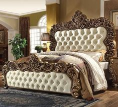HD-8011KB King Size Bed with Large Intricate Carving Details Button Tufting and Faux Leather Upholstery Panels in Golden Walnut Finish