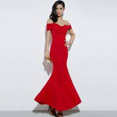 Sexy Solid Color Boat Shoulder Mermaid Dress For Women