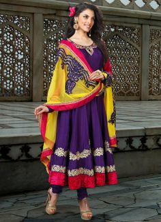 Sparkling Deep Purple Anarkali Embroidered Salwar Kameez With Yellow Dupatta