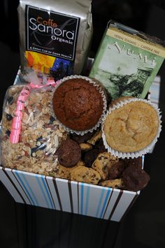 This is Sweet Debbie's Mother's Day Gift Box which includes #sugarfree #vegan #glutenfree muffins, cookies, granola, organic coffee and green tea. I wish someone would get this for me!