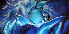 Blue Night Abstract Equine Painting  - Blue Night Abstract Equine Fine Art Print