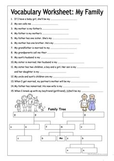 Vocabulary Worksheet - My Family (Medium)