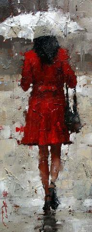 Rainy day..red coat