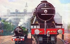 """""""TYPHOON"""" and """"FLYING SCOTSMAN"""" at King's Cross..17 Flying Scotsman, Southern Railways, Trains, Posters, King, Art, Art Background, Kunst, Poster"""