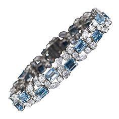 OSCAR HEYMAN Aquamarine and Diamond Bracelet