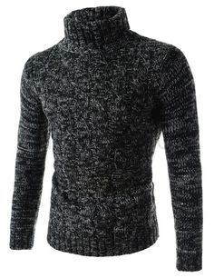 (TN01-CHARCOAL) Mens Slim Stretchy Turtle Neck Front Twist Knitted Long Sleeve Tshirts