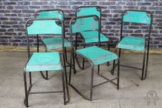 Stacking chairs in a variety of colours original vintage #industrial #stylish #blackgreen