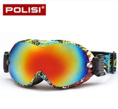POLISI Winter Ski Snow Goggles UV400 Anti-Fog Snowboard Skiing Glasses Double Layer Snowmobile Motorcycle Goggles Men & Women