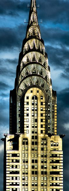 ~The Chrysler Building designed in 1930 by William Van Alen is an Art Deco style skyscraper and the most spectacular building in New York City. At 1,046 feet (319 m), the structure was the world's tallest building for 11 months before it was surpassed by the Empire State Building in 1931 | House of Beccaria