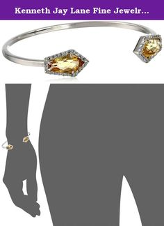 Kenneth Jay Lane Fine Jewelry Sterling Silver, Citrine, and White Topaz Cuff Bracelet. Slip-on sterling silver cuff featuring faceted citrine in white topaz halo at entry. Items containing natural stones may have slight variances in size, shape and color. Made in Thailand.