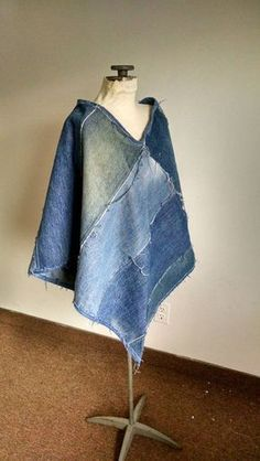 cool Cute recycled denim poncho made from repurposed jeans ecofriendly