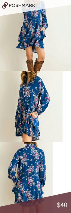 Cyber Monday Sale! << Flouncy Floral Fall Dress >> An adorable spin on Floral. This beauty combines floral print, long sleeves, buttons, and layers! Even has pockets! Not sheer, lined, and woven.  100% Rayon  Runs large and fits loosely, Drawstring waist for a cinched fit on waist but baggy fit elsewhere.  Buyers recommend ordering a size down! Boutique Dresses