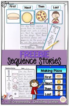 These story sequencing activities are perfect for kindergarten, first, and second grade students. The activities include sequence cards to order and write a sequence story. The sequence cards could also be used to practice oral language skills to re Sequencing Activities, Language Activities, Sequencing Events, Sequencing Cards, Work Activities, Sequencing Anchor Chart, Aba Therapy Activities, Speech Activities, 2nd Grade Writing