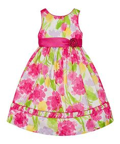 Another great find on #zulily! White & Fuchsia Floral Rosette Dress - Toddler & Girls #zulilyfinds