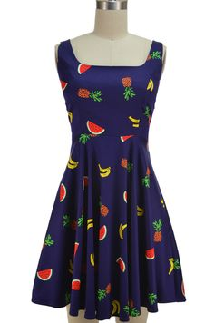 two scoops pinup sun dress - fruit bowl print