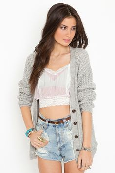 white bustier and gray cardigan with high waisted shorts - cute outfit