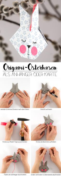DIY Origami Easter Bunny - as a pendant or greeting card, In two weeks is Easter - high time to quickly make some cute greeting cards or cute pendants for the Easter bouquet! The little origami bunnies are fo. Bunny Origami, Origami Diy, Origami Butterfly, Origami Design, Origami Flowers, Origami Paper, Origami Ribbon, Origami Wallet, Origami Ideas