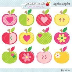 Apples Apples - Cute Digital Clipart - Commercial Use OK, Apple Clipart, Apple Graphics on Etsy, $5.00