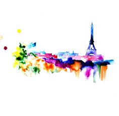 Eiffel Tower painting Watercolor abstract by fairysomnia Watercolor City, Watercolor Paintings, Tattoo Watercolor, Watercolor Landscape, Watercolours, Paris Painting, Painting Art, Matte Painting, Lapin Art