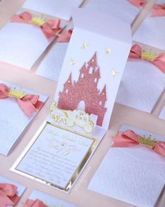 12 units dozen) castle and carriage pop up invitations for Quinceañera or any other occasion. Cinderella Invitations, Mickey Invitations, Pop Up Invitation, Quince Invitations, Cinderella Theme, Princess Invitations, Cinderella Birthday, Cinderella Castle, Birthday Party Invitations