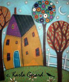 KG - HOUSE TREES AND DAISIES Rug Hooking Pattern - Karla Gerard Folk Artist