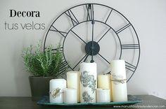 Cómo decorar velas con sellos / Candle decorating idea www.manualidadesytendencias.com #manualdiades #velas #crafts #manualidadesfáciles