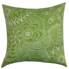 "Bring a touch of nature to your living space by adding this floral throw pillow. The shades of green and white in this accent pillow brings a bold twist. This square pillow is ideal for your cabana, patio or lounge area. Place this 18"" pillow on any of your outdoor furniture for an instant makeover. This decor pillow is made of mildew-resistant and UV-protected fabric. $55.00  #pillows #green #tosspillow #homedecor"