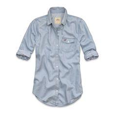 55d10690350 HOLLISTER NWT by Abercrombie Long Sleeve Denim Shirt M Medium Button Up  Shirts