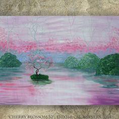 Sakura Frühling Großes Gemälde 120 x 160 cm Grossformat Bild Rosa grün Malerei