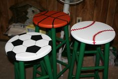 Sports themed stools!  You could use them at one special center or rug time. {pink and peppy}