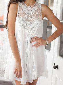 DESCRIPTION Season :Summer Pattern Type :Plain Sleeve Length :Sleeveless Color :White Dresses Length :Short Style :Casual Material :Chiffon Neckline :Round Neck Silhouette :Tent Decoration :Cut Out Shoulder(cm) :S:30cm,M:31cm,L:32cm Bust(cm) :S:82cm,M:86cm,L:90cm Length(cm) :S:79cm,M:80cm,L:81cm Size Available :S,M,L