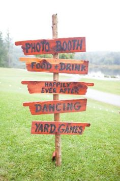 Sign for wedding guests on the big day. Super helpful. Plus have you thought of lawn games? Because it's awesome. Guests can dance or play. And it's like $50 bucks to set them up.