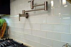 White Glass Subway Tile Design Kitchen Backsplash