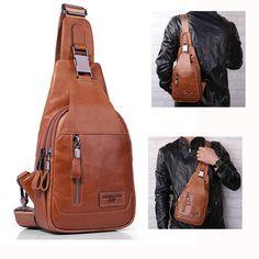 Ekphero® Men Casual Genuine Leather Oil Wax Chest Bag Crossb 0b5c8f5961e2